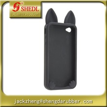 Cute Cat Ear Design Silicone Skin Back Cover Case for Iphone 4 4s 4g Black