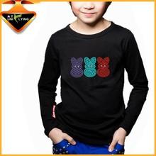 Cute Rabbit Design Custom Rhinestone T-shirt For Boys