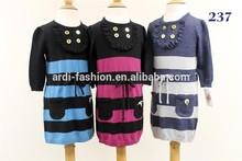 stylish beautiful ruffle neck pockets stripe baby girls knitted dress