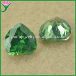 high quality Heart shape emerald green cubic zirconia synthetic diamond