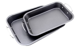 113354 carbon steel non-stick turkey roaster pan with two 2 handles