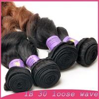 "glueless lace front wig -indian vigin malaysian hair 1B 30 Loose wave 10""10""10""10"""