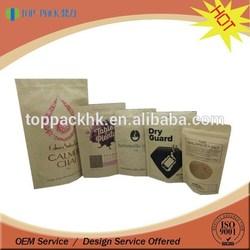 Printed brown kraft food packaging paper bags with window