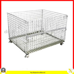 hot sale cheap movable collapsible wire bins with wheels
