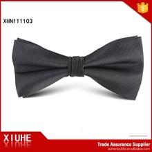 Mens formal solid black 100% silk twill bow tie