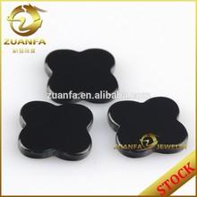 wholesale machine cut 12*12mm polished four leaf clover black agate slices