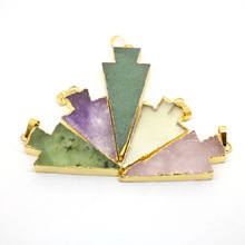 JF8716 New style gold electroplated natural crystal quartz arrow head pendant