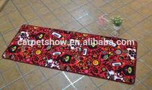 fashion design red color nylon printing kitchen mat