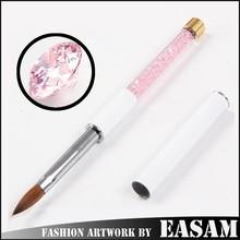 Kolinsky acrylic nail brush with rhinestone design