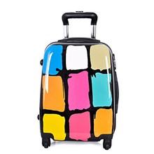 Fashion colorful check printed hard shell luggage , PC printed luggage