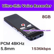 2015 HOT 8GB 1536kbps cheap ultra thin multilingual digital voice recorder