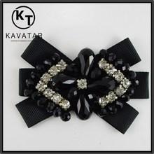 2015 Black glass beads & rhinestone handmade appliques for dress