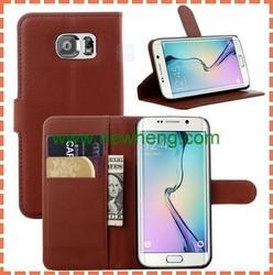 Hot Lichee grain PU genuine leather cover case For Samsung Galaxy S6