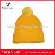 wholesale 100% acrylic Beanie Hat With Pom Pom Top Ball Yellow Beanie knitting Hat