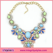 Girls gold plated statement acrylic channel necklace