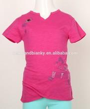 beautiful girl's shirt knitted fabric short sleeve bead girl's blouse