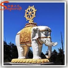 2015 factory wholesale Outdoor Large Elephant Garden Statues life size fiberglass garden animal elephant sculpture
