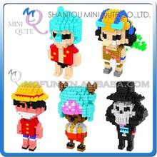 Mini Qute WISE HAWK 5 styles cartoon Anime one piece Luffy Diamond nano plastic building blocks brick kid model educational toy