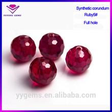 Laboratorio de corindón bola del agujero con/piedra de rubí sintético/facetas ruby cuentas
