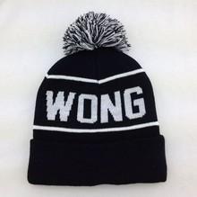 Jacquard Skull Knitted Beanie Hats Winter Lady HeadWear ,Black In White Writing Logo Beanie Hat