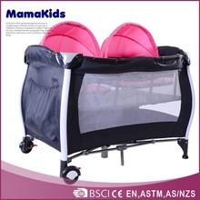 2015 best selling OEM luxury twins folding baby travel crib