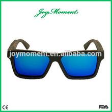 Custom Logo on the Temples,Black Frame and Blue Lenses Bamboo Sunglasses,Bamboo Eyeglasses