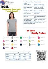 Custom Logo Design Screen Printing Embroidery Fashionable Blank Women Ladies Female Round Neck T-Shirt