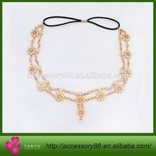 European and American fashion temperament flower hair accessories, elastic head chain hair, sweet bride wedding headdress