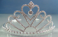 high quality beautiful silver crystal pageant crown