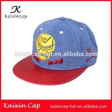 blue jeans/denim 3d embroidery logo snapback cap with flat short brim leather snapback hats wholesale/snapback cap