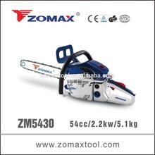 made in china 54cc ZM5430 gas chain saw, pneumatic chain saw, chain saw machine
