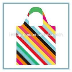 High Density Polyester Color Stripe Foldable Shopping Bag