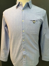 100%cotton blue oxford man shirt with elbow patched