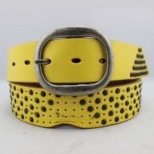 wide metal studded full grain leather yellow belts women
