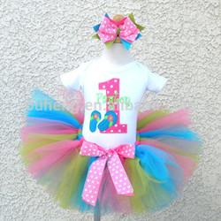 Baby First Birthday Clothing Set With Headband