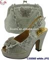Blanco csb565 2015 venta caliente top de la moda de estilo italiano de zapatos y bolso, alto qulity del alto talón zapatos de las mujeres con el partido bolsa