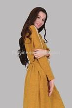 The merino wool o-neck long sleeve and long dress of women