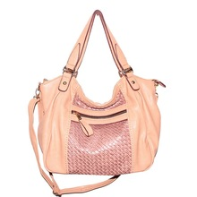 Everyday Free Style PU Leather Satchel Pink Women Tote Handbag with Shoulder Strap Made In China