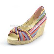 Cloth stripes national wind toe peep shoes Hemp high-heeled platform shoes high heels