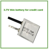Hot sale ultra thin rechargebale battery 052323 3.7v 15mAh electric card and credit card lithium battery