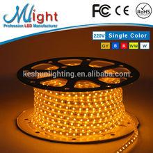 Mlight 110V/220V 5050 Golden Yellow IP65 CE RoHS FCC Waterproof Flexible LED light Strip