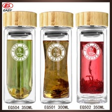 Promotional high quality double wall glass green tea filter bottle with printing logo