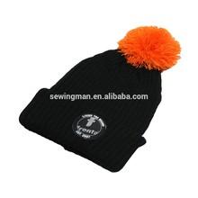 Acrylic rib knitted chunky custom hat beanie with pom pom