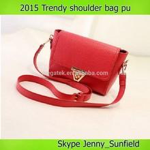 2015 trendy pu leather shoulder bag women bag with lock