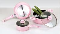 5pcs pink non-stick cookware sets korean kitchenware set