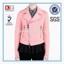 2015 OEM pleat design pink women neoprene fabric jacket motorcycle