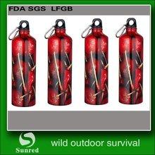 durable new arrival carabineer aluminum sport water bottle