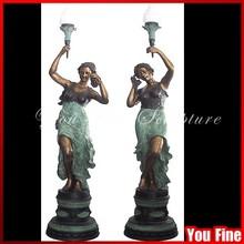 Large Twin Women Bronze Sculpture Lamps For Decor