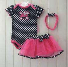 kids cotton clothes Wholesale wholesale clothing distributors 3pcs baby girl 2015 new design short romper+dress multicolor