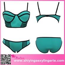 Wholesale Green Neoprene Underwire Bikini with Fishnet hot hot sexi photo